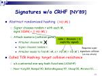 signatures w o crhf ny 89
