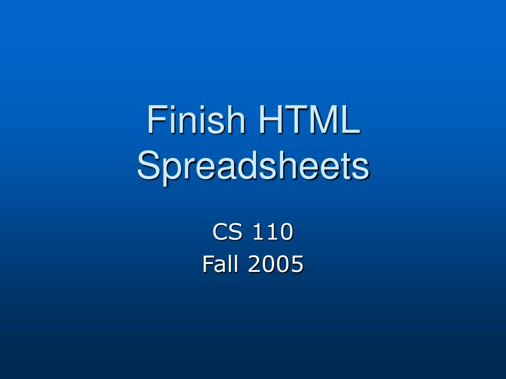 finish html spreadsheets l.