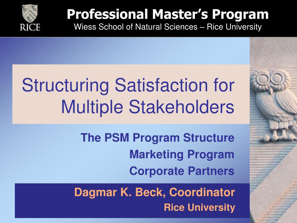 structuring satisfaction for multiple stakeholders l.