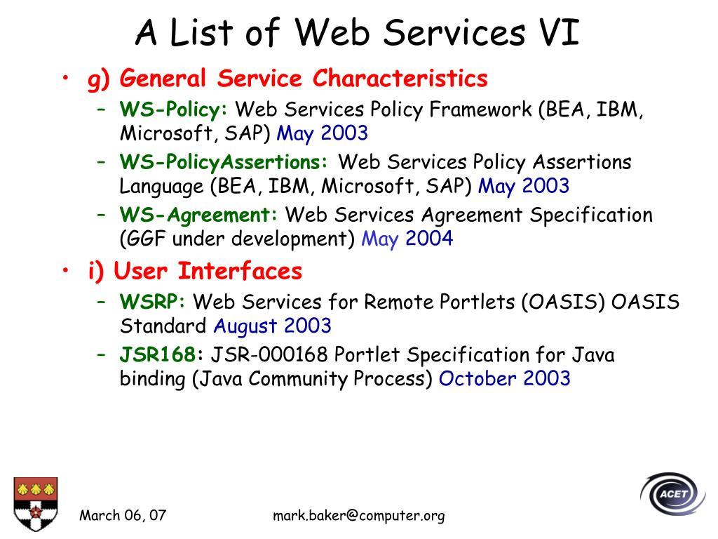 A List of Web Services VI