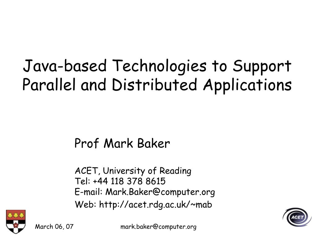 java based technologies to support parallel and distributed applications l.