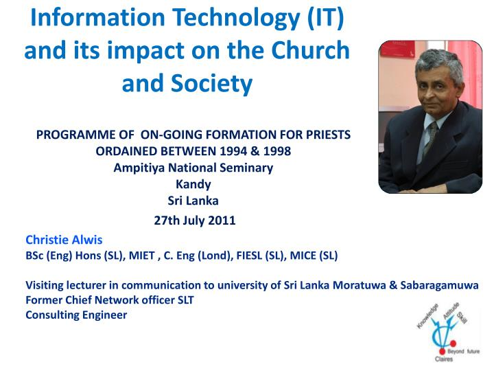 information technology it and its impact on the church and society n.
