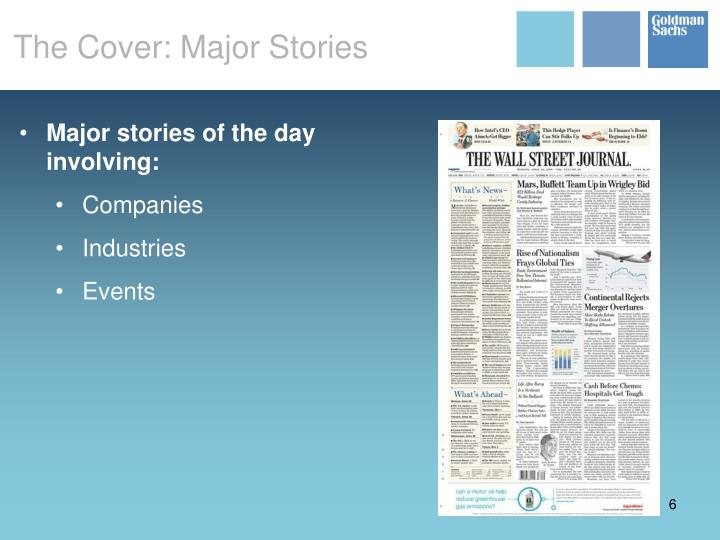 The Cover: Major Stories