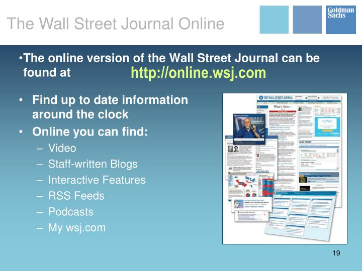 The online version of the Wall Street Journal can be found at