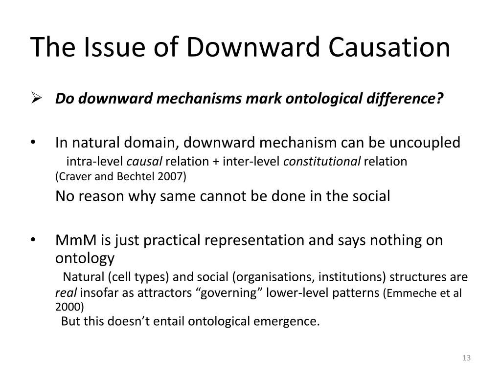 The Issue of Downward Causation