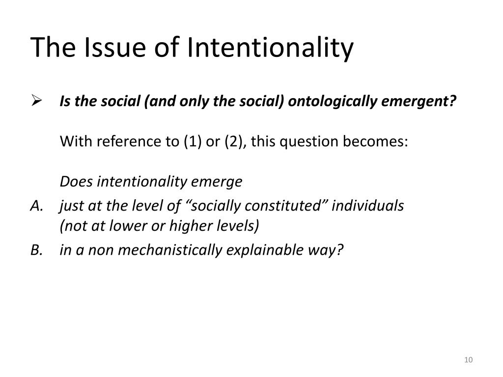 The Issue of Intentionality