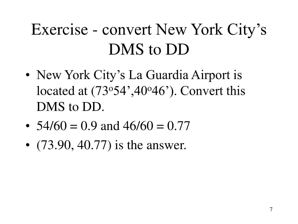 Exercise - convert New York City's DMS to DD