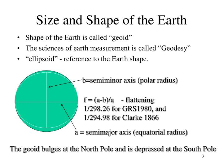 Size and shape of the earth