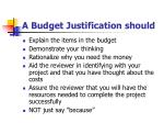 a budget justification should