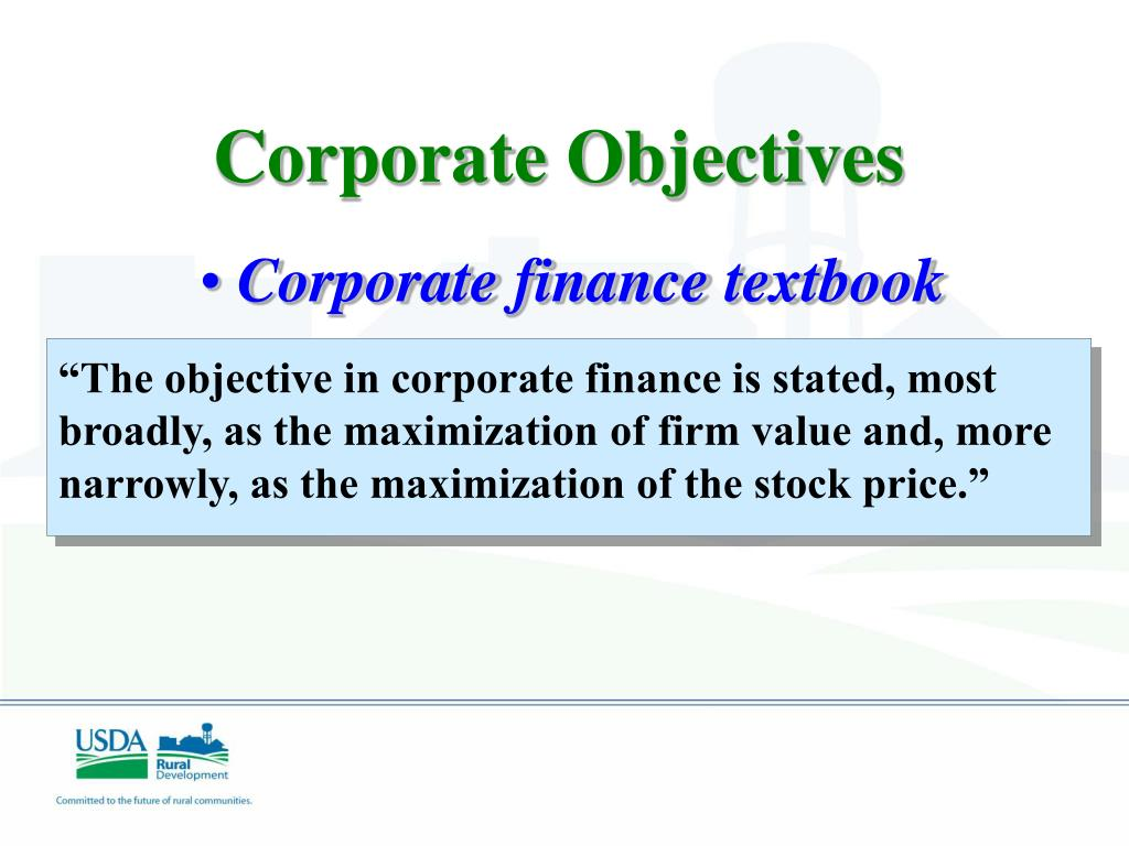 """The objective in corporate finance is stated, most broadly, as the maximization of firm value and, more narrowly, as the maximization of the stock price."""