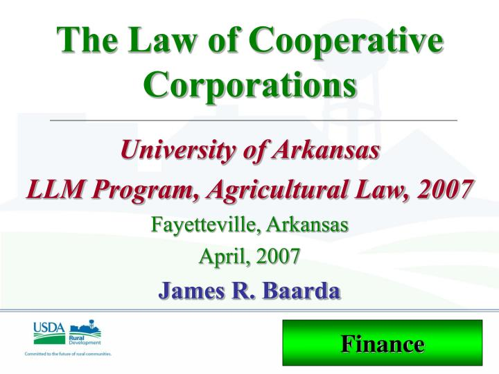 The law of cooperative corporations