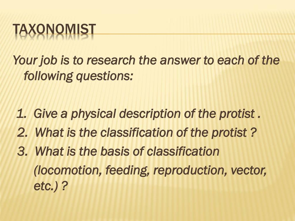Your job is to research the answer to each of the following questions: