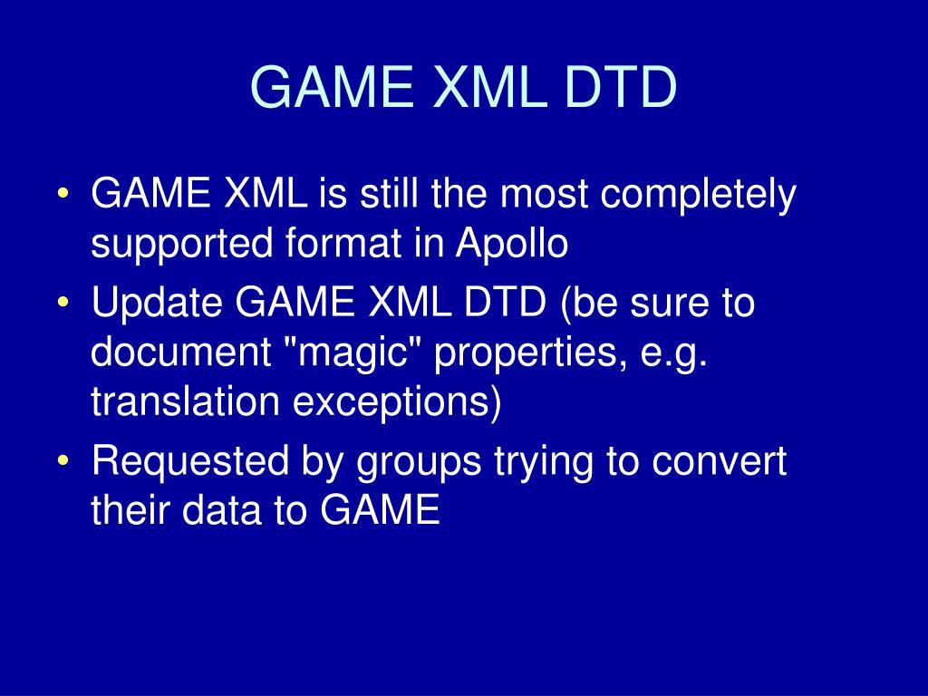 GAME XML DTD