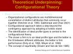 theoretical underpinning configurational theory