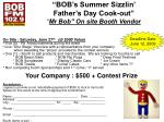 bob s summer sizzlin father s day cook out mr bob on site booth vendor