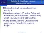activity 8 making a learner persistence plan