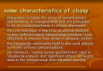 some characteristics of cbasp