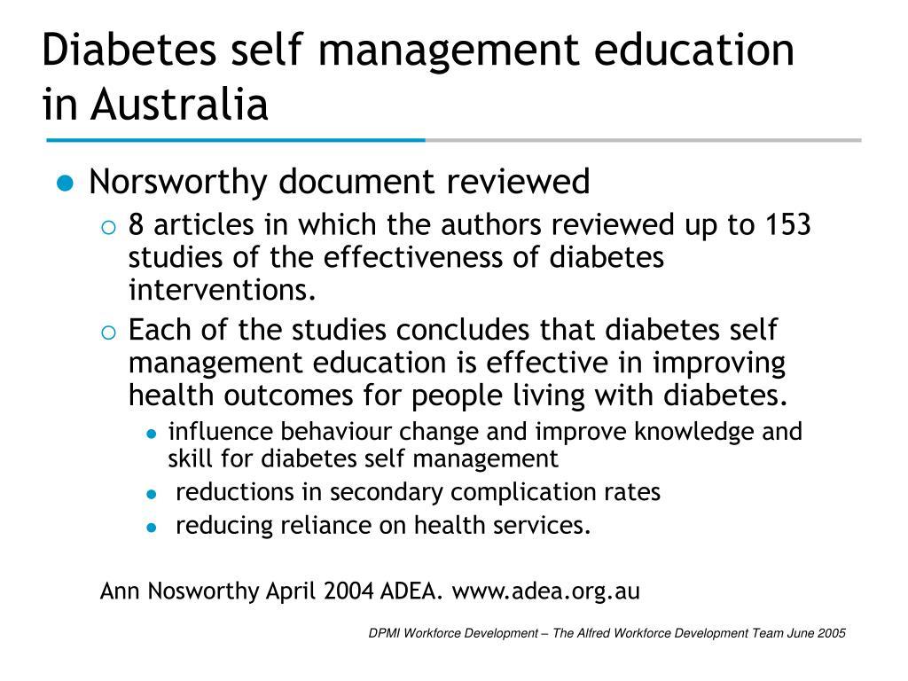 Diabetes self management education in Australia
