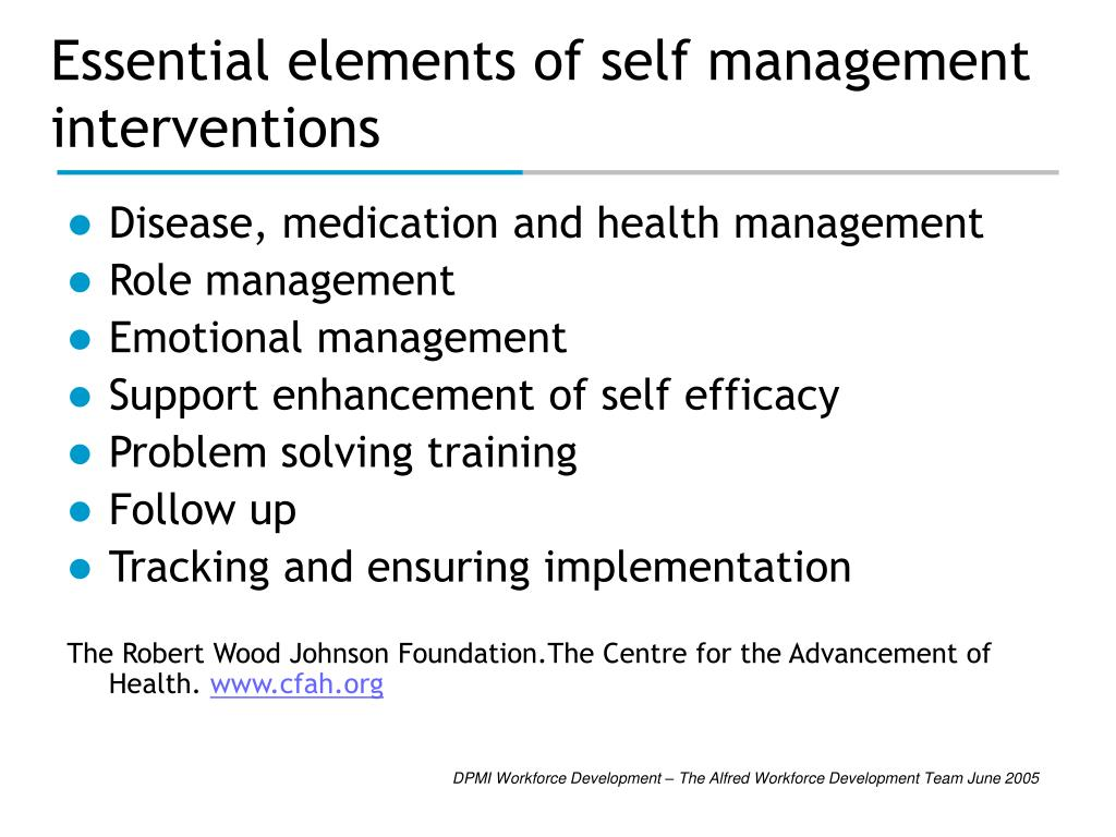 Essential elements of self management interventions