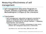 measuring effectiveness of self management