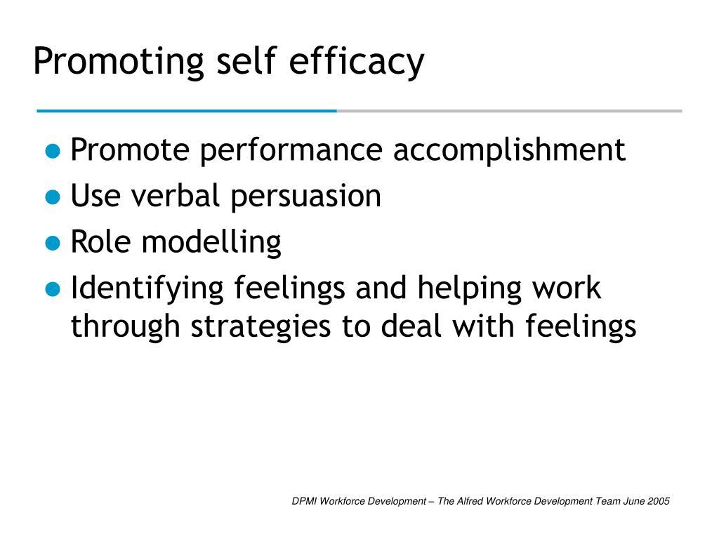 Promoting self efficacy