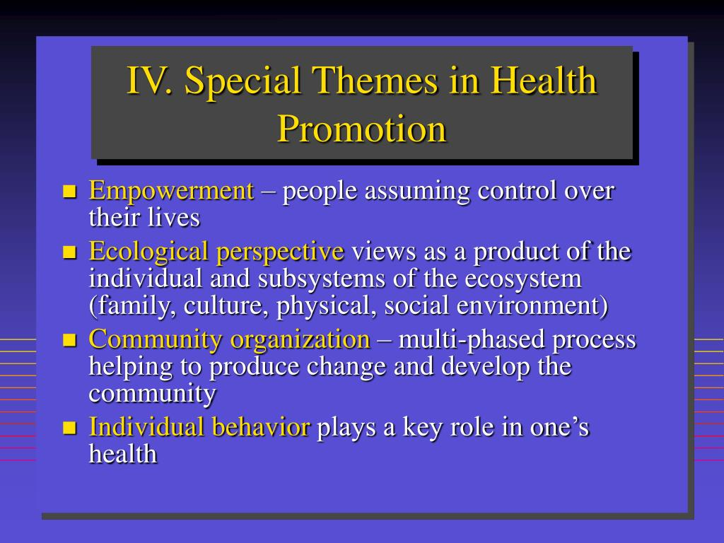 IV. Special Themes in Health Promotion