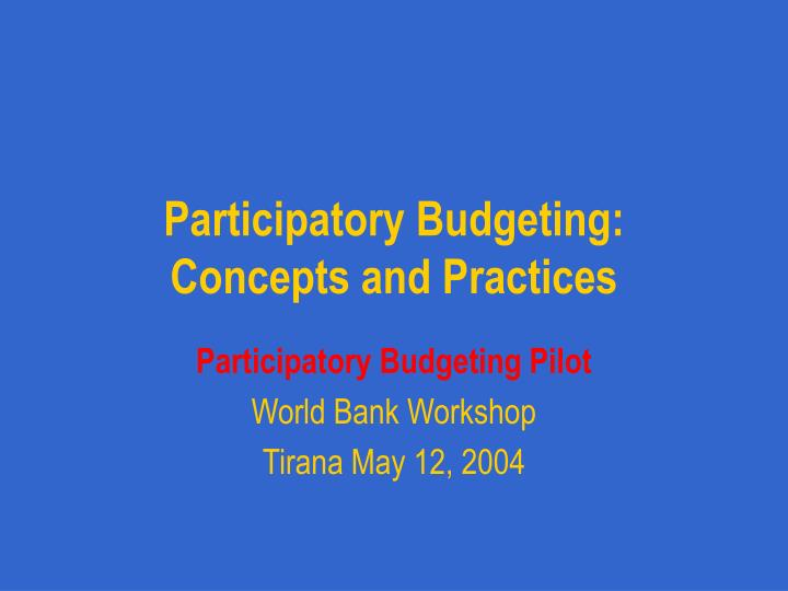 participatory budgeting concepts and practices n.