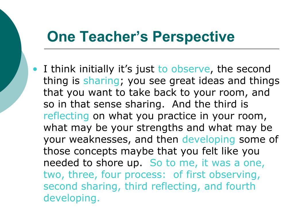 One Teacher's Perspective