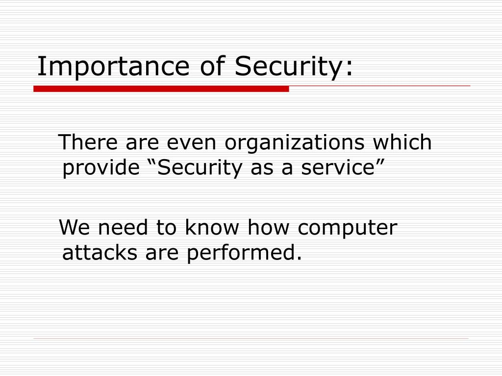 Importance of Security: