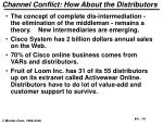 channel conflict how about the distributors