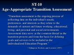 st 10 age appropriate transition assessment
