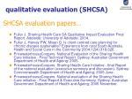 qualitative evaluation shcsa