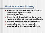 about operations training