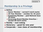 membership is a privilege