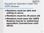 squadrons operate under the usps bylaws