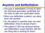 asystole and defibrillation