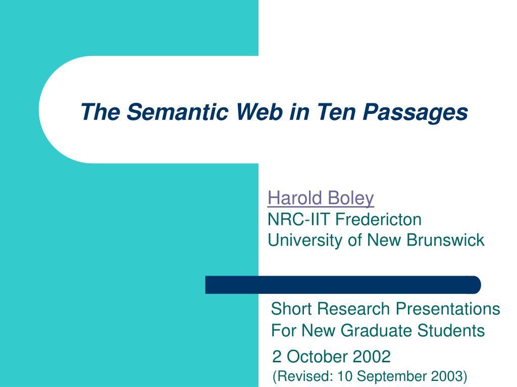 the semantic web in ten passages l.