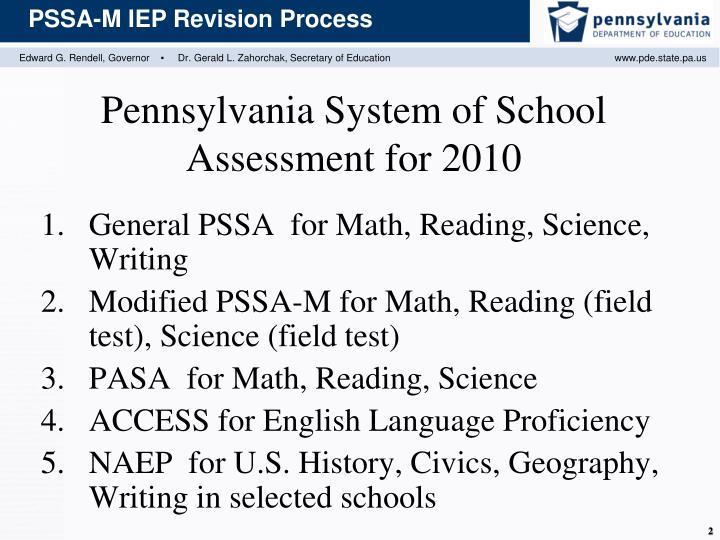Pennsylvania system of school assessment for 2010