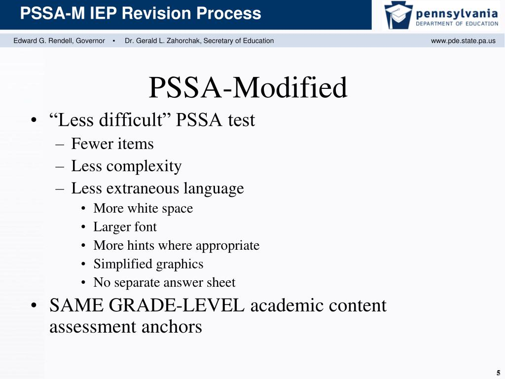 """""""Less difficult"""" PSSA test"""