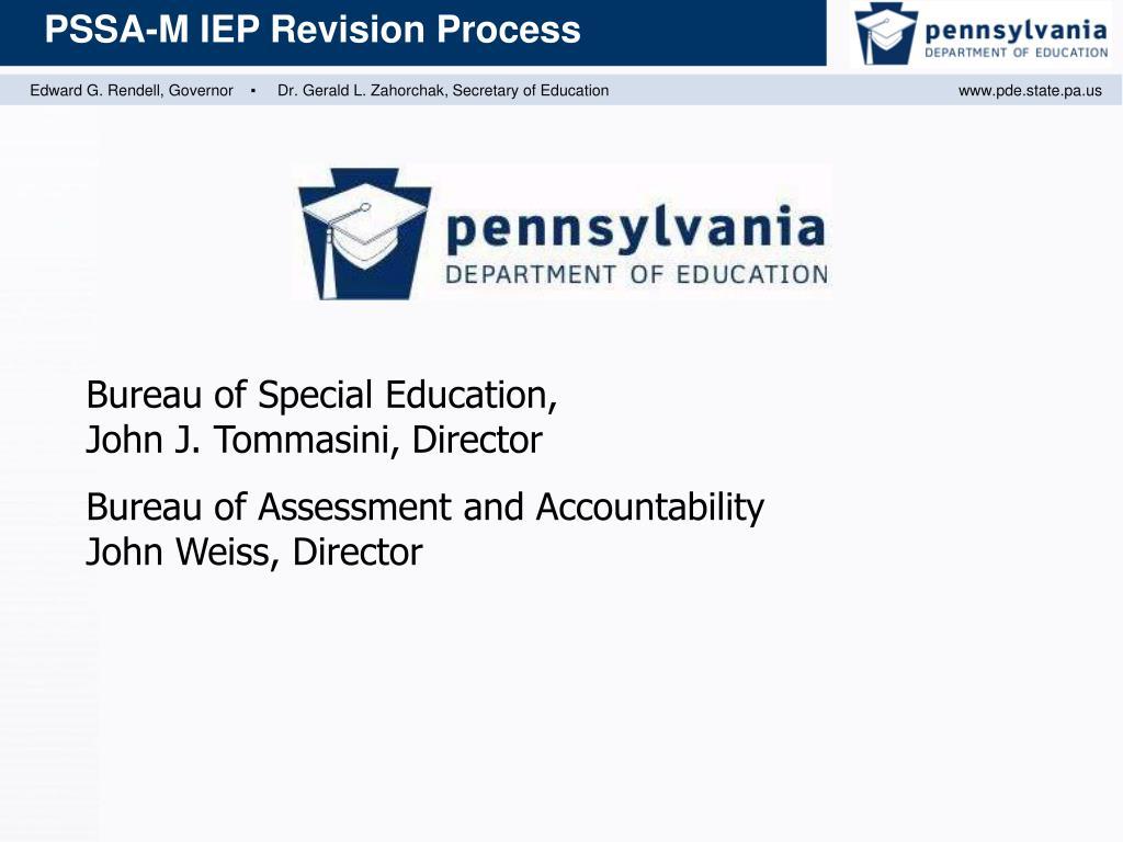 Bureau of Special Education,          John J. Tommasini, Director