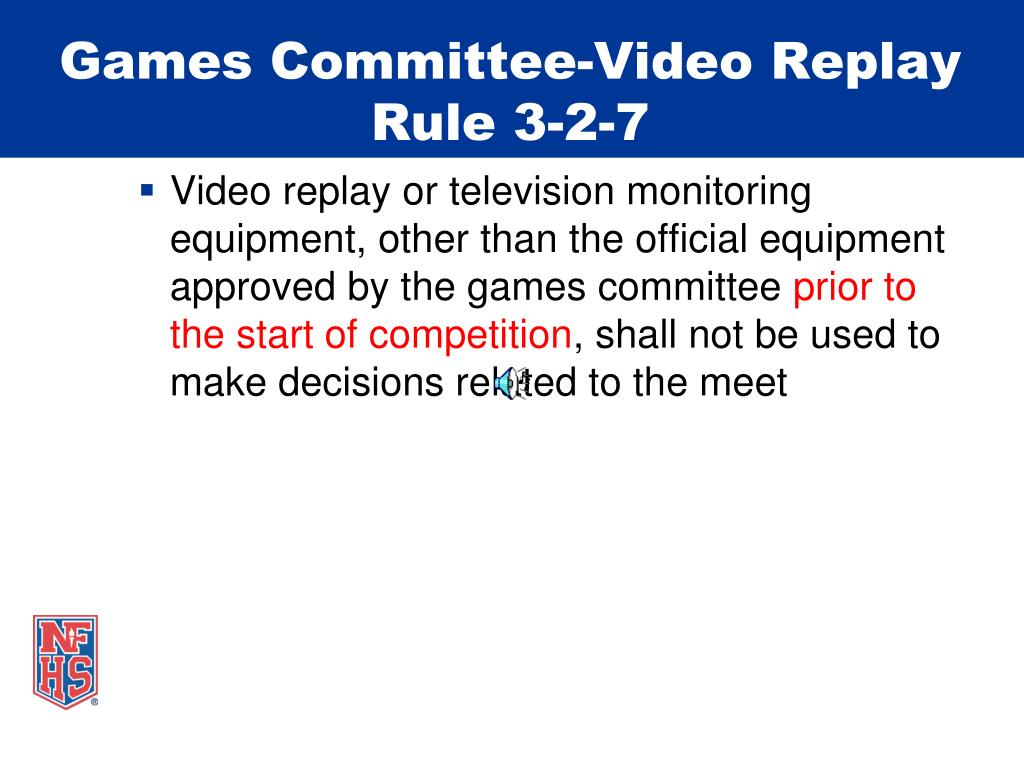 Games Committee-Video Replay
