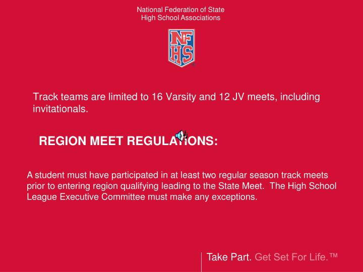 Track teams are limited to 16 varsity and 12 jv meets including invitationals