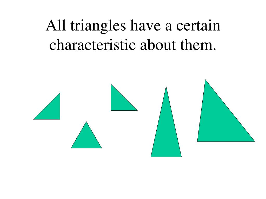 All triangles have a certain characteristic about them.