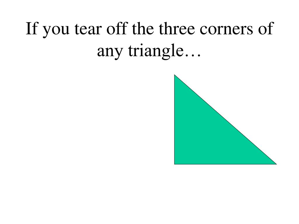 If you tear off the three corners of any triangle…