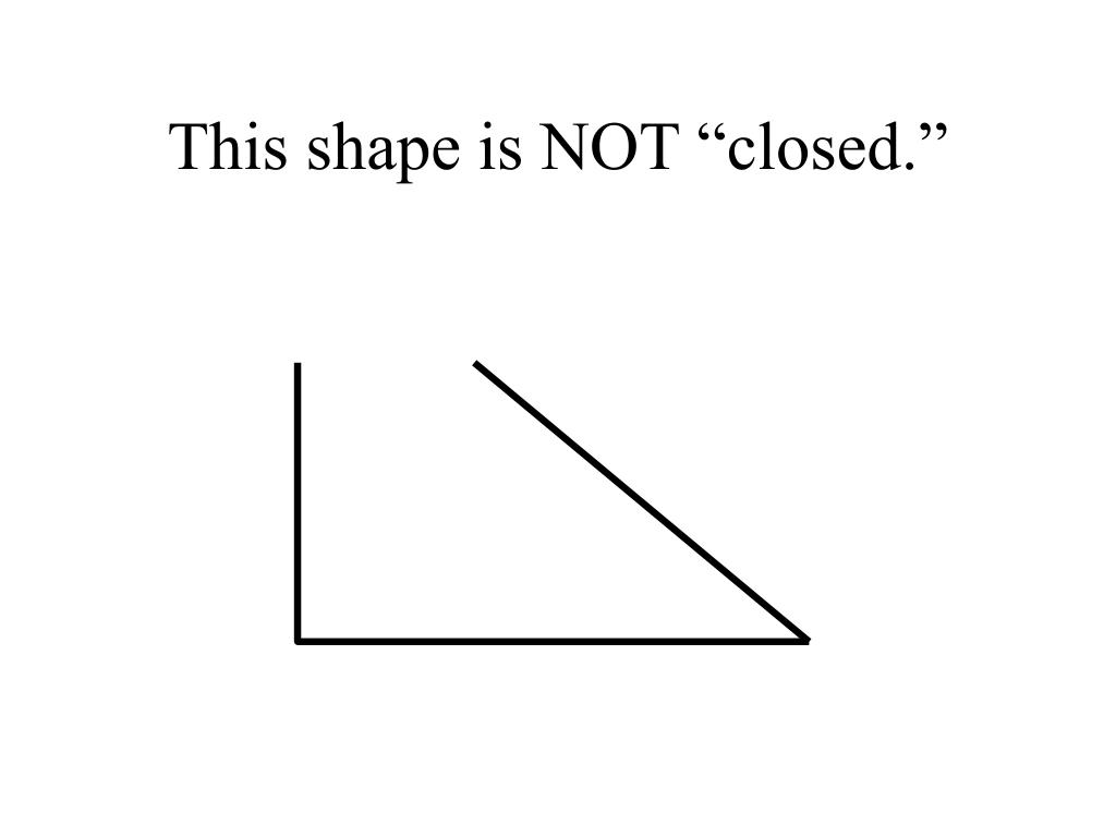 """This shape is NOT """"closed."""""""