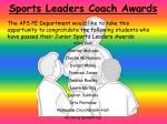 sports leaders coach awards