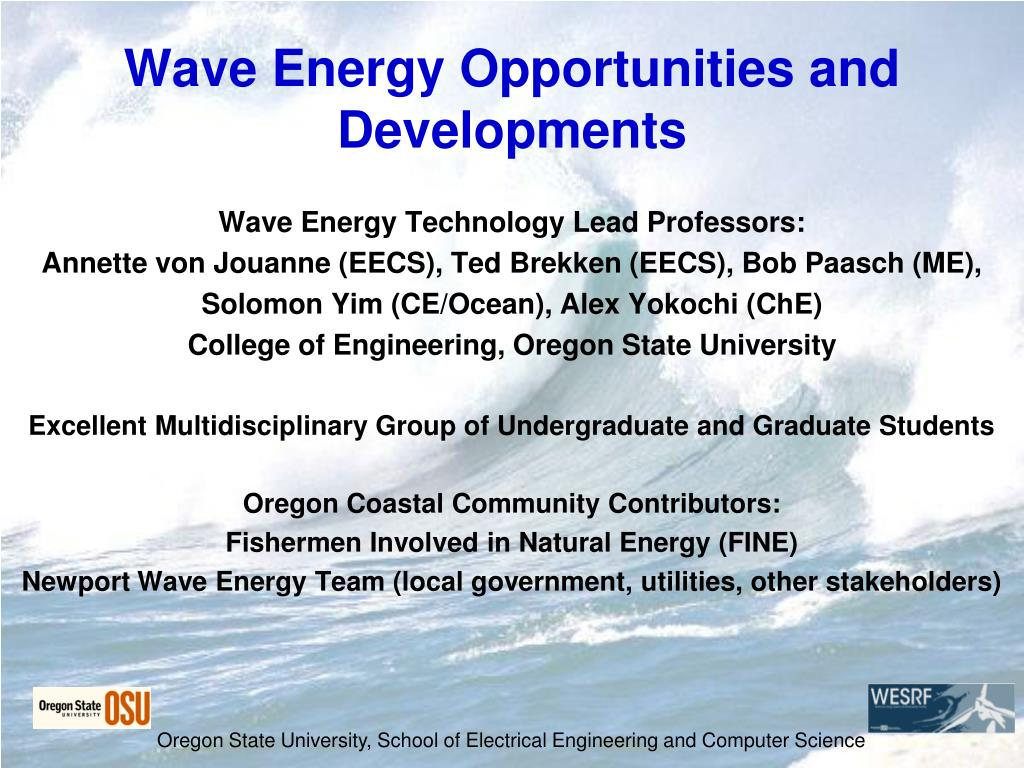 wave energy opportunities and developments l.