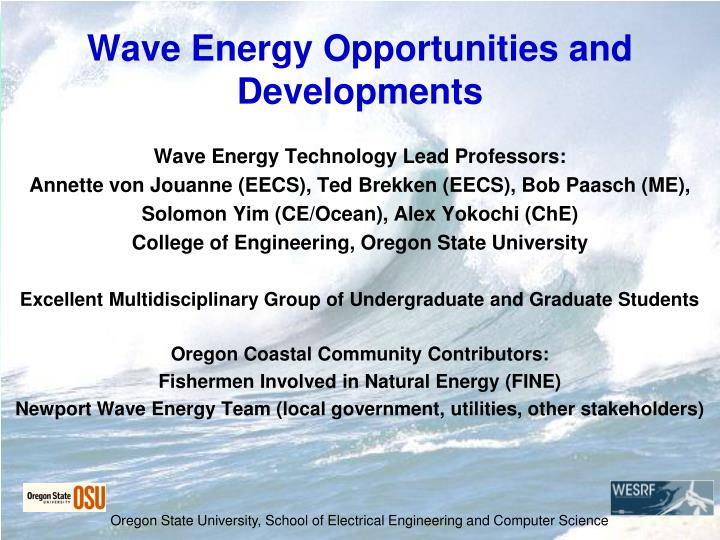 wave energy opportunities and developments n.
