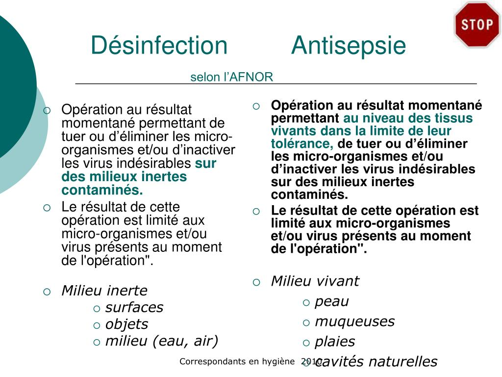 Désinfection		Antisepsie