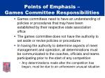 points of emphasis games committee responsibilities